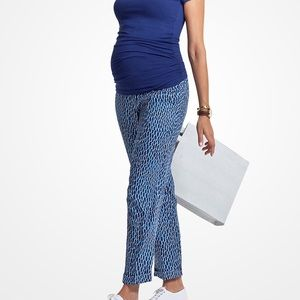 Isabella Oliver Maternity Trousers Blue Dot Print